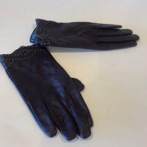 Leather gloves purple Sz.M/L NWOT